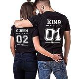 Shirt T-Shirt Tees Shirts Couple King Queen Coton pour Roi Reine à Manches Courtes Imprimé 01 Tee Tops Anniversaire Cadeau 2 Pièces Chemise Casual Été(BK-King-M+BK-Queen-S)
