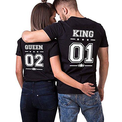King Queen Pärchen t Shirt Für Zwei Stücke Baumwolle Couple Appare Shirts Oberteil Schhwarz Weiß Geschenk Nummer mit Aufdruck(bk-K-01-S+bk-Q-02-L) (Paare Disney Shirts)