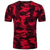 OHQ Sommer Kleidung Herren Camouflage T-Shirt Kurzarm-Shirt Top Bluse Camouflage Casual Slim T Shirt Herren (rot, L)