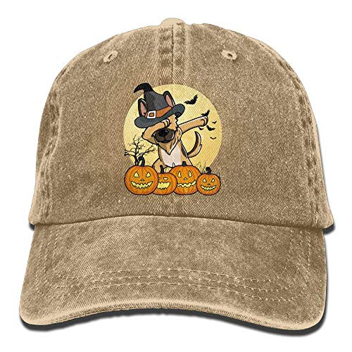 Hoswee Baseballmütze Hüte Kappe Dabbing German Shepherd Halloween Unisex Truck Baseball Cap Adjustable Hat Military Caps (Pics 100 Halloween-60)