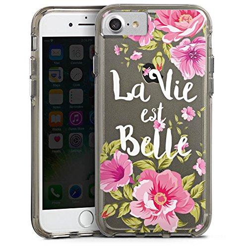 Apple iPhone 6 Plus Bumper Hülle Bumper Case Glitzer Hülle La Vie Est Belle Franzoesisch Blumen Bumper Case transparent grau