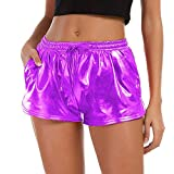 TWIFER Damen Hohe Taille Yoga Sport Shorts 2018 Sommer Kurz Hosen Shiny Hotpants Metallic Leggings (2XL, Lila)