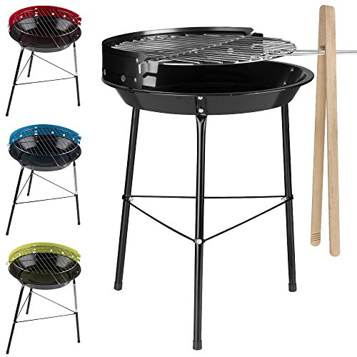 BBQ Grill klein mit Grillzange - Kugelgrill - Holzkohlegrill - Standgrill - kleiner Grill - Campinggrill
