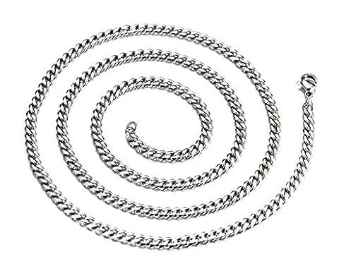 Daesar Edelstahl Anhänger Herren Curb Kette Silber 3mm Breite 60cm
