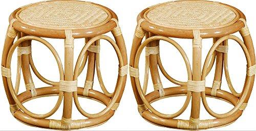 2-er Set - Klassischer Rattan Hocker (Honig), Runder Sitzhocker aus echtem Rattan - Versandkostenfrei in DE - Zwei Runde Hocker