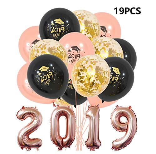 JOJOR Abschluss Deko 2019 - Abschlussfeier Luftballons, Graduation Ballon Helium für Graduierung Schulabschluss Abi Abitur Studium, Graduation Party Decorations,19 Stück