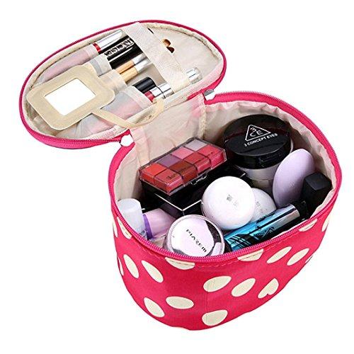 Oyedens PVC Serie De Puntos PortáTil Bolso CosméTico Neceser Para Maquillaje Organizador Bolso 20.3x15.7x11.8cm (Rojo sandía)