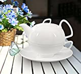 Buchensee Porzellan Tea for one / Tea4one / Teeservice / Teeset 4-teilig'Schwanensee' 550ml, Fine Bone China, Original Aricola®