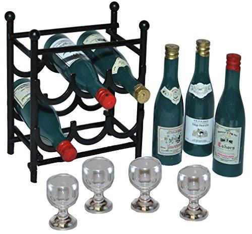 Unbekannt 11 TLG. Set: Miniaturen Weinregal aus Metall + 6 Flaschen Wein + 4 Weingläser - Flaschenregal - Getränk Limonade Saft Regal / Puppenhaus Puppenküche - Maßstab.. (Miniatur-limonade)