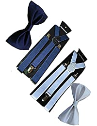 Sunshopping unisex navy blue and white stretchable suspenders with bow combo (r-243)
