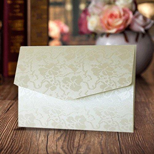 Arazzo vintage avorio A6biglietti d' invito floreale in rilievo wedding portafogli perlato con inserti di carta e buste abbinate Inc x 10