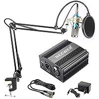 Neewer NW-800 Micrófono de Condensador Kit, Micrófono Plateado, Fuente de Alimentación Negra de 48V Phantom, Soporte de Brazo de Tijeras de Auge NW-35 con Montaje de Choque y Filtro de Estallido