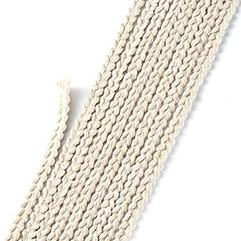 Neotrims Platted Rope Style Trimming Ribbon Braid, Cotton, 10mm For Edge Trim decoration, Apparel, Furnishing &Costume. Slim, Textured Design, Elegant. 5 Meters packing.
