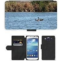 Grand Phone Cases PU Leather Flip Custodia Protettiva Case Cover per // M00141718 Oies rivière Natation Canada Goose Eau // Samsung Galaxy S3 S III SIII i9300