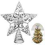 UNOMOR Weihnachts Baumspitze Stern - Silber Glitzer Metall Baum Stern Großartiges Design – 20cm (Sockel nicht enthalten) Passend für durchschnittlich großeWeihnachtsbäume