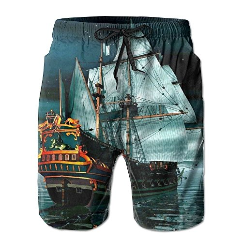ip Men's/Boys Casual Shorts Swim Trunks Swimwear Elastic Waist Beach Pants with Pockets ()