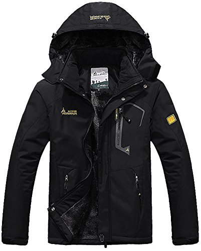 TACVASEN Herren Winter Wasserdichte Winddichte Winterjacke Warme Fleece-Futter Ski Regenmantel mit Kapuze- Gr. EU XL (CN 5XL), Schwarz