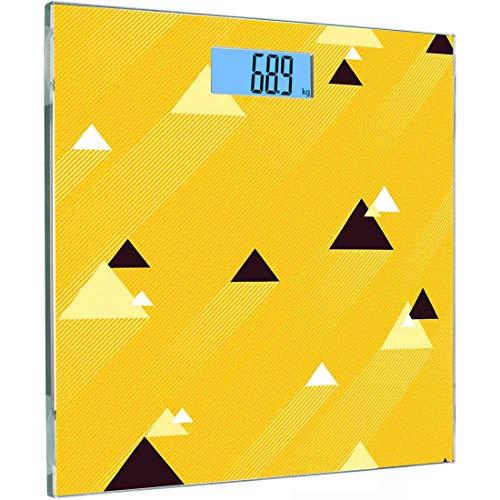 Ultra Slim Hochpräzise Sensoren Digitale Körperwaage Vintage Gelb Gehärtetes Glas Personenwaage, Große und Kleine Diagonale Dreiecke mit Streifen Geometrische Retro, Ringelblume Schwarz und Weiß