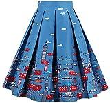 Falda a Media Pierna con Plisada y Estampado en A-línea de Cintura Alta Vintage Acampanadas de Mujer(M)