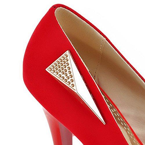 VogueZone009 Damen Mattglasbirne Eingelegt Ziehen Auf Rund Zehe Hoher Absatz Pumps Schuhe Rot