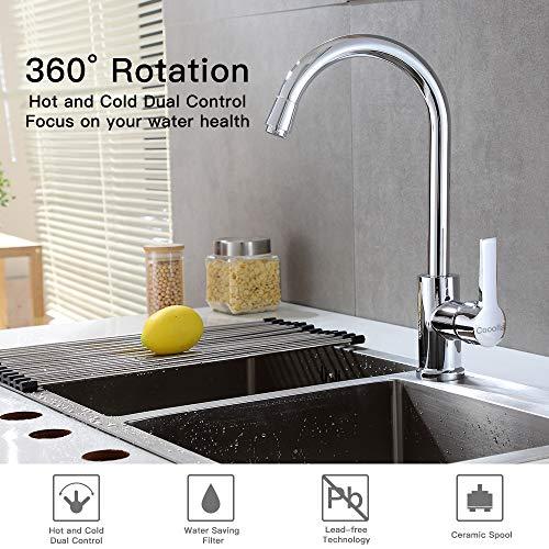 Cooolla Rubinetto Cucina Girevole a 360 ° Miscelatore Monocomando Alto  Lavabo Rubinetto per Cucina Lavello Acqua Fredda e Calda,Cromo
