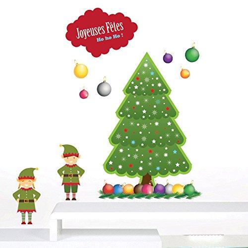 Deco de Noel–Adhesivos Árbol, duendes y bolas de Noel- 19elementos de tallas Divers Dimensions del kit–50x 90cm