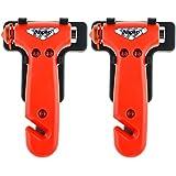 Anpro 2 Stück Auto Sicherheitshammer mit Gurtschneider, Gurtmesser, fahrzeugsicherheit hammer, Notfallhammer für Auto, Bus