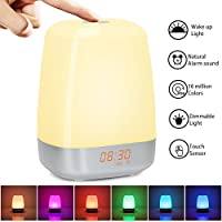 Wake-up Light Alarm Clock with Sunrise Simulation Sunrise Alarm Clock with 5 Nature Sound, Touch Control, Bedside Night Light with 3 Bright Levels, 256 Color RGB Mode for Bedroom, Christmas Gift