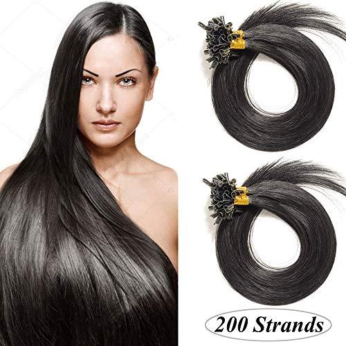 Bondings Haarverlängerung Keratin U-Tip Human Hair 200 Strähnen Schwarz#1 16