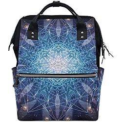 Mochila de viaje con fractales creativos. Gran capacidad, ideal como bolsa de pañales para la madre y el bebé.