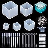 Molde de Joyas Silicona 145 PC, 5 Cubo de Forma Molde Silicona+ 100 piezas de tornillo Pins la Epoxy Resina Moldes,tazas plásticas disponibles, agitadores,cuentagotas,guantes disponibles