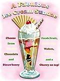 Ein Fabelhafter Eiscreme Eisbecher mit waffel und kirschen. 50er 60er Amerikanischer Desert Essen,Alt retro für die küche,abendessen,kaffee,Kaffee,haus,heim,restaurant/kneipe Metall/Stahl Wand Zeichen - 9 x 6.5 cm (Magnet)