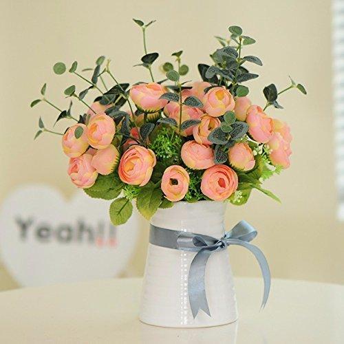 ZJJJH Flores Decorativas Artificiales Camelia Maceta Artificial Planta Sala de Estar decoración de Mesa Estilo rústico…