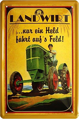 Agriculteur - Seulement Un Held Scooter sur s Champ Tracteur Bauer 20 x 30 cm Plaque de 939