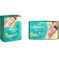 Pampers Baby Dry Diapers, New Born, 22 Count & Pampers Baby Dry Diapers - 46 Count (New Born)