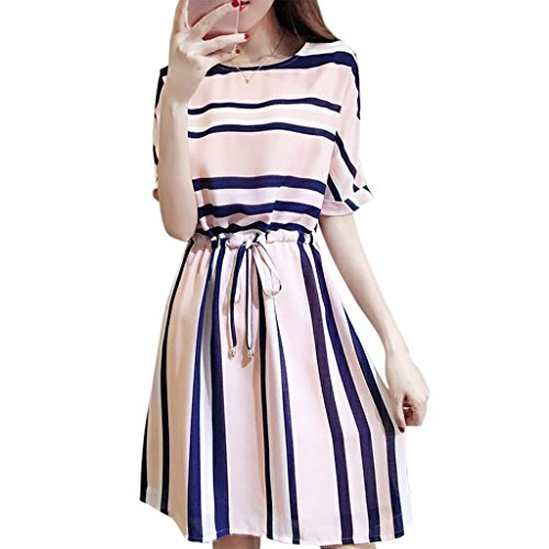 CUIGU Womens Half Sleeve Striped Midi Dress Round Neck Plus Size Elastic Waist Tie