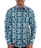 70ger Jahre Muster Hemd Waves blau 3XL