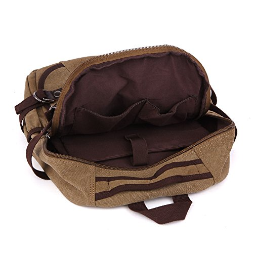 &ZHOU Borsa di tela, Borsa a tracolla uomini e donne capiente borsa zainetto casual classico tela sport borsa del computer , black Khaki