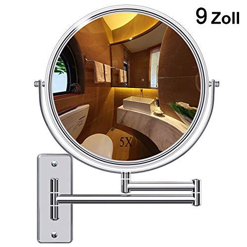 Benbilry Kosmetikspiegel Wandmontage 9 Zoll Doppelseitiger Wandspiegel Rasierspiegel Schminkspiegel mit Normal und 5 Fach Vergrößerung, 360° Schwenkbar, verchromt für Badezimmer, Kosmetikstudio, Hotel