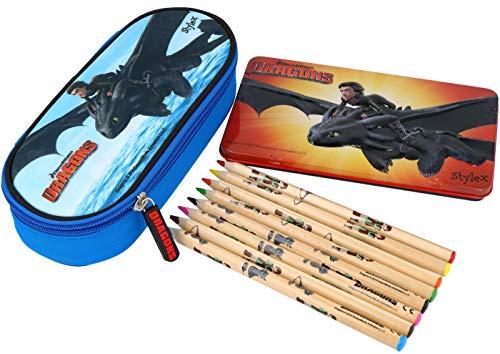 com-four® Juego de Escritura de 10 Piezas con Mocasines y lápices Gigantes en una Caja de Metal con Motivos de DreamWorks. (Set de Escritura - 10 Piezas)