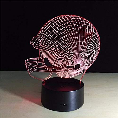 3D Illusion Lampe Football helm LED Nachtlicht, USB-Stromversorgung 7 Farben Blinken Berührungsschalter Schlafzimmer Schreibtischlampe für Kinder Weihnachts geschenk - C6 Mit Blauem Led-licht