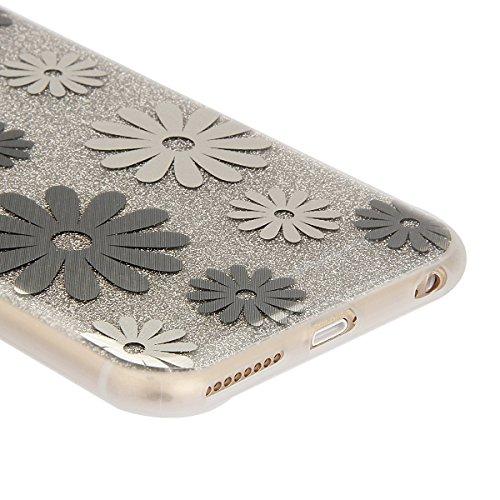 Coque Etui pour Apple iPhone 6 Plus/6S Plus, iPhone 6S Plus Coque Silicone Cerise Motif Etui, iPhone 6 Coque en Silicone Ultra-Mince Etui Housse avec Bling Diamant,iPhone 6 Plus/ 6S Plus Silicone Case Argent-marguerite