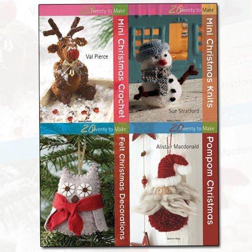 Twenty to Make Christmas Collection 4 Books Bundle (Mini Christmas Crochet, Mini Christmas Knits, Felt Christmas Decorations, Pompom Christmas)
