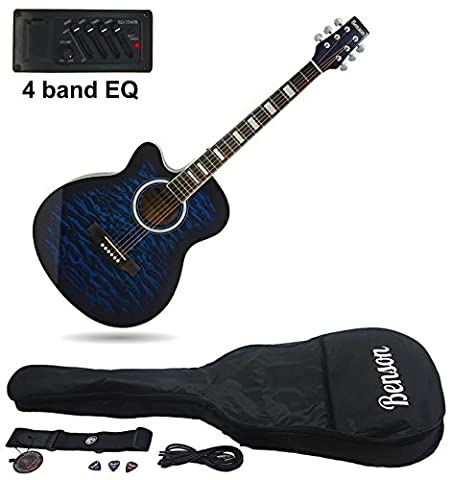 Benson Tiger Print left handed Electric Electro semi Acoustic hollow body guitar (Tiger Blueburst) Fender picks and lessons