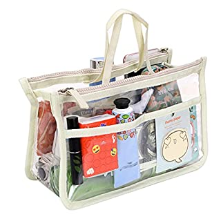 IGNPION Transparent PVC Insert Handbag Organizer 8 Pockets Travel Makeup Toiletry Wash Bag Cosmetic Pocket Purse Organizer Insert for Girls Women with Zipper and Handles (Beige)
