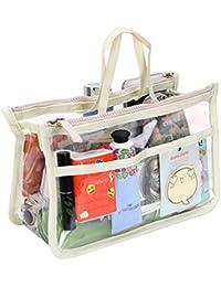 IGNPION Transparent PVC Insert Handbag Organizer 8 Pockets Travel Makeup Toiletry Wash Bag Cosmetic Pocket Purse Organizer Insert for Girls Women with Zipper and Handles