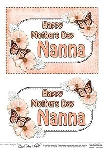5 x 7 & per la festa della mamma, nonna, motivo farfalle a fiori 3D per Decoupage by Carol Clarke