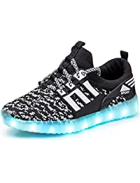 ec1295e93eea GJRRX LED Zapatos Primavera-Verano-Otoño Transpirable Zapatillas LED 7  Colores Recargables Luz Zapatos de Deporte de…