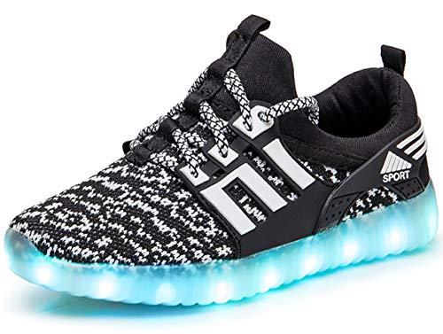 GJRRX LED Leuchtende Bunte Sneaker Turnschuhe Unisex Kinder Jungen Mädchen USB Auflade Sportschuhe Leichte Schuhe 26-37