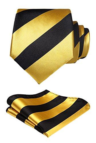 Hisdern matrimonio a righe cravatta fazzoletto cravatta da uomo & pocket square set
